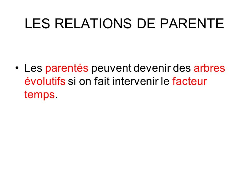 LES RELATIONS DE PARENTE