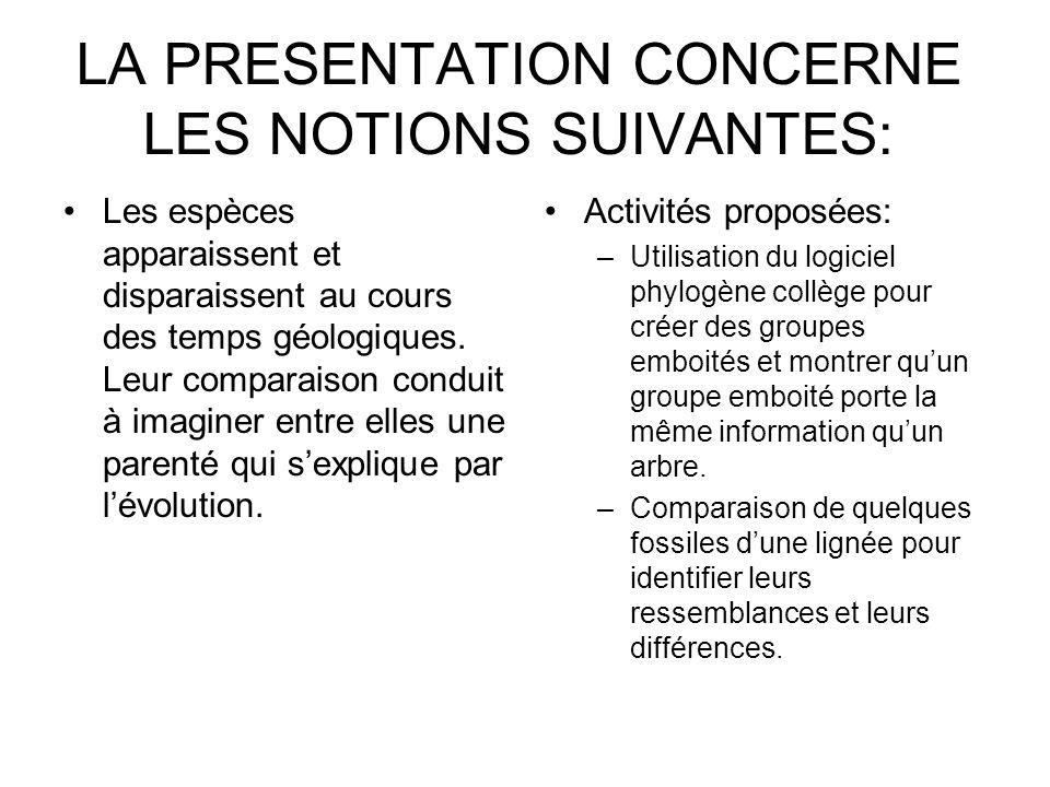 LA PRESENTATION CONCERNE LES NOTIONS SUIVANTES: