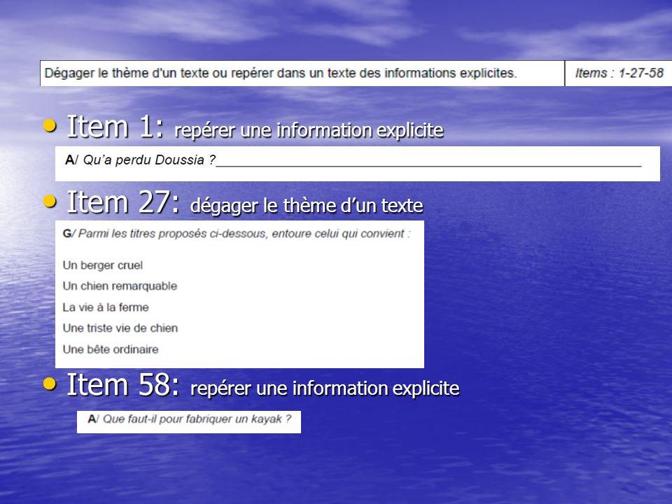 Item 1: repérer une information explicite