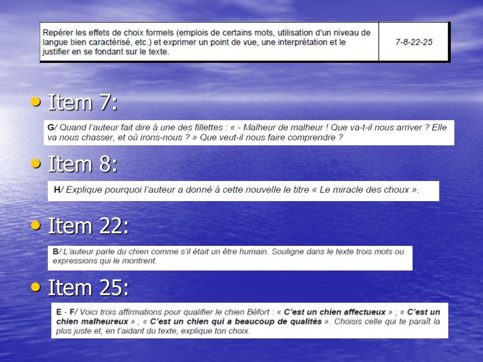 Item 7: Item 8: Item 22: Item 25:
