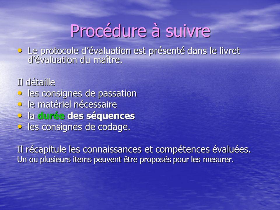 Procédure à suivre Le protocole d'évaluation est présenté dans le livret d'évaluation du maître. Il détaille.