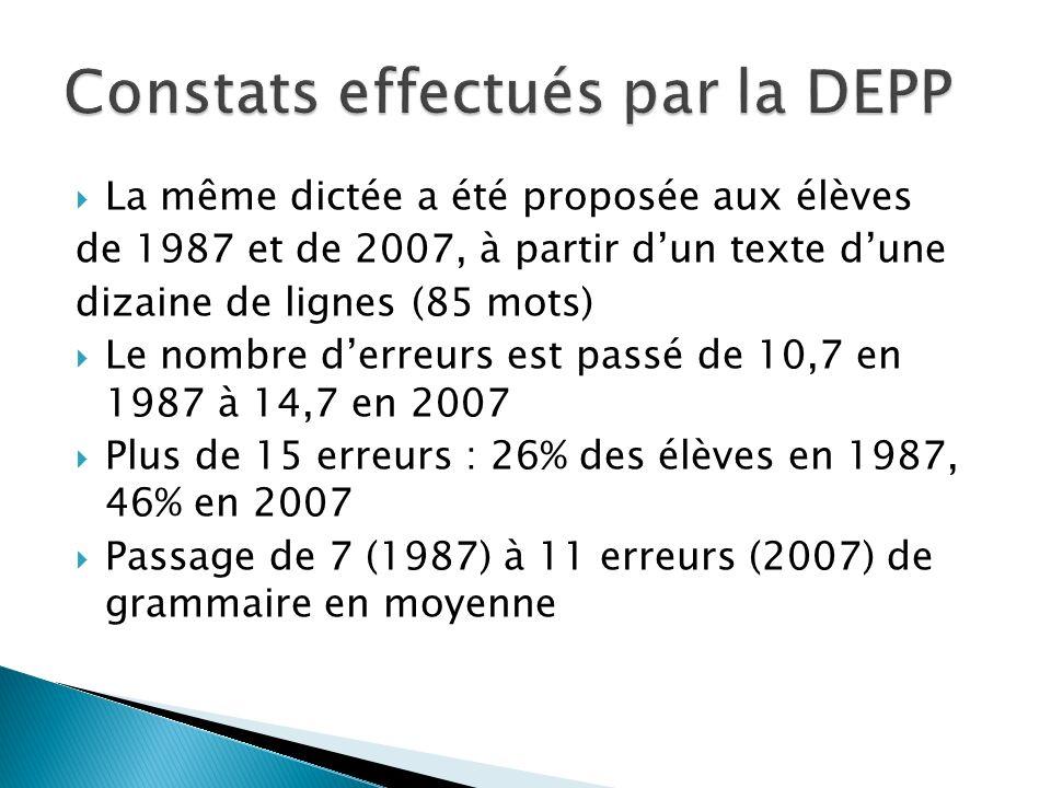 Constats effectués par la DEPP