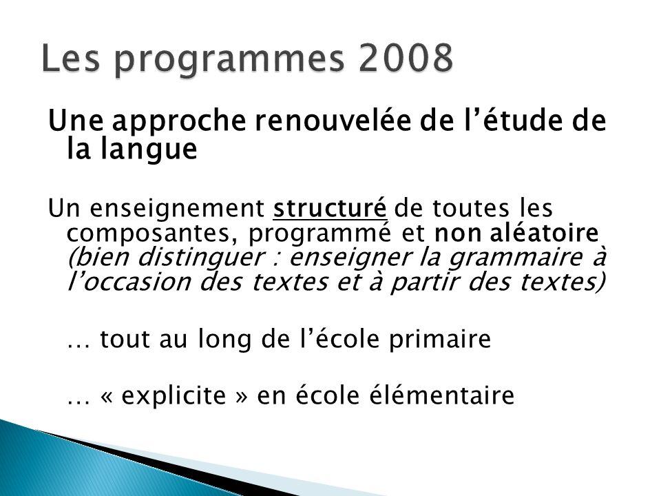 Les programmes 2008 Une approche renouvelée de l'étude de la langue