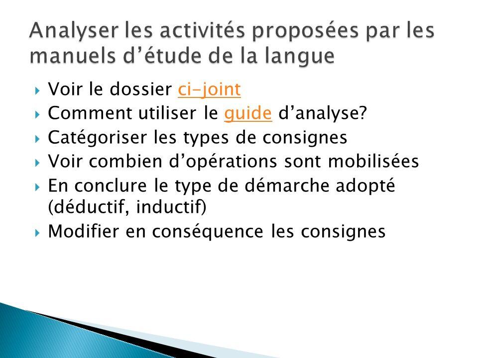 Analyser les activités proposées par les manuels d'étude de la langue