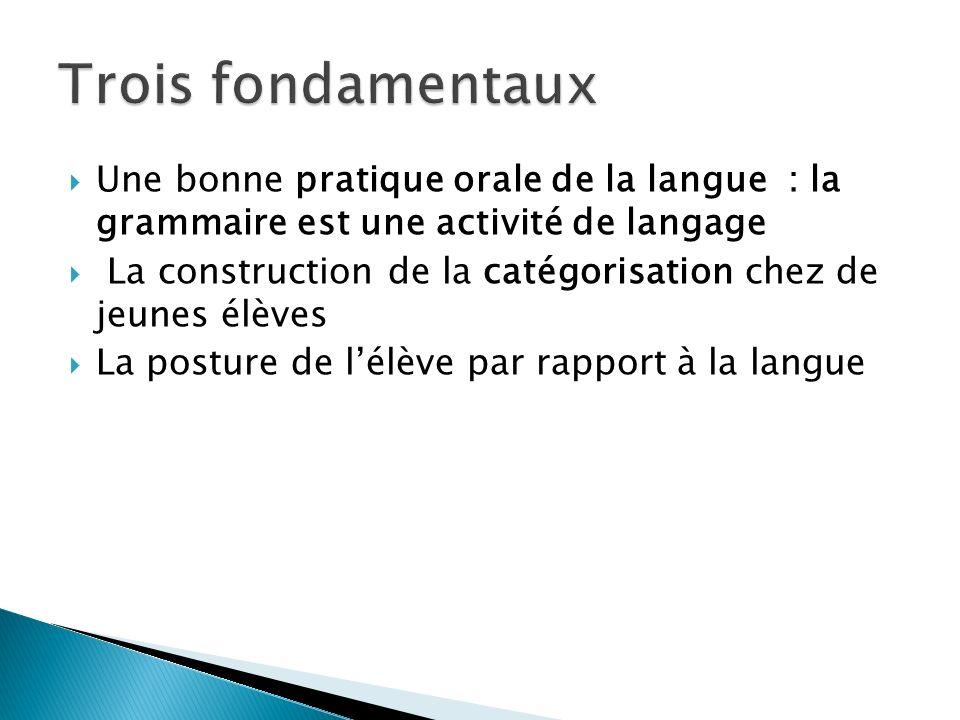 Trois fondamentaux Une bonne pratique orale de la langue : la grammaire est une activité de langage.