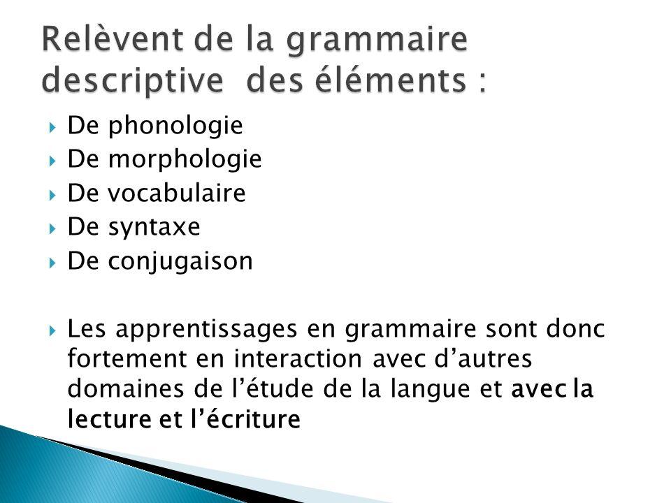 Relèvent de la grammaire descriptive des éléments :