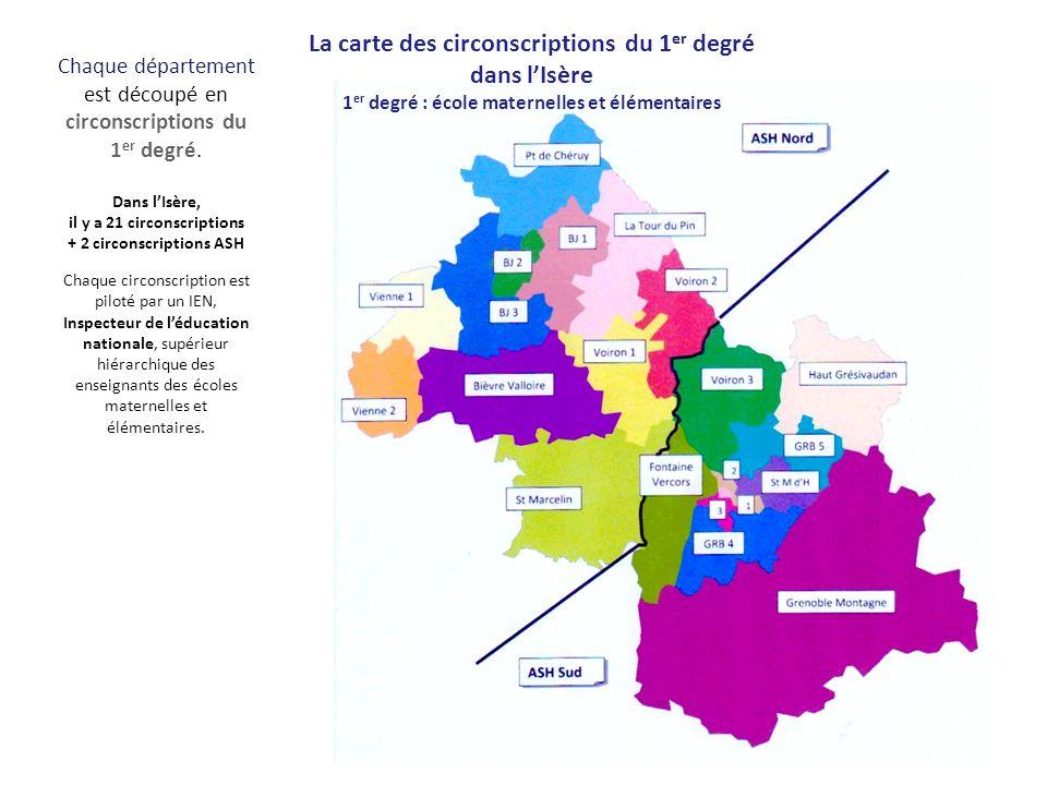 La carte des circonscriptions du 1er degré dans l'Isère