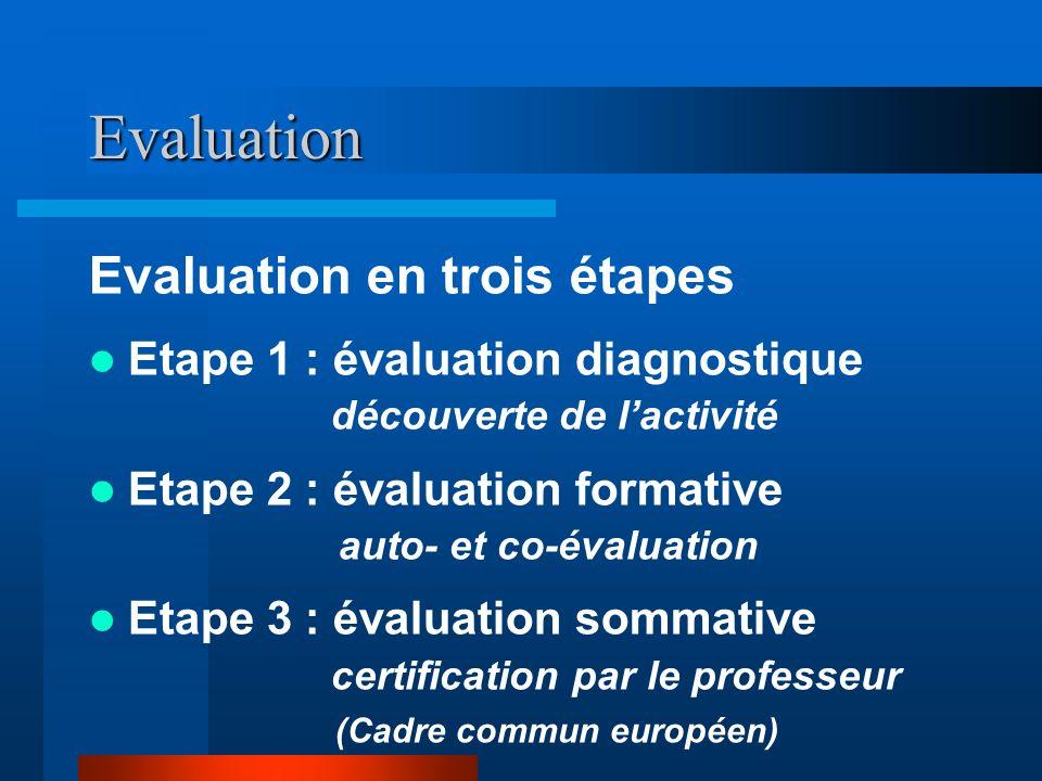 Evaluation Evaluation en trois étapes
