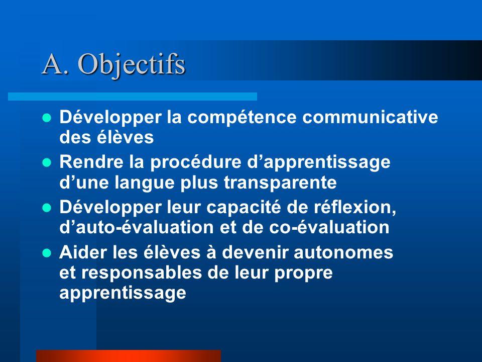 A. Objectifs Développer la compétence communicative des élèves