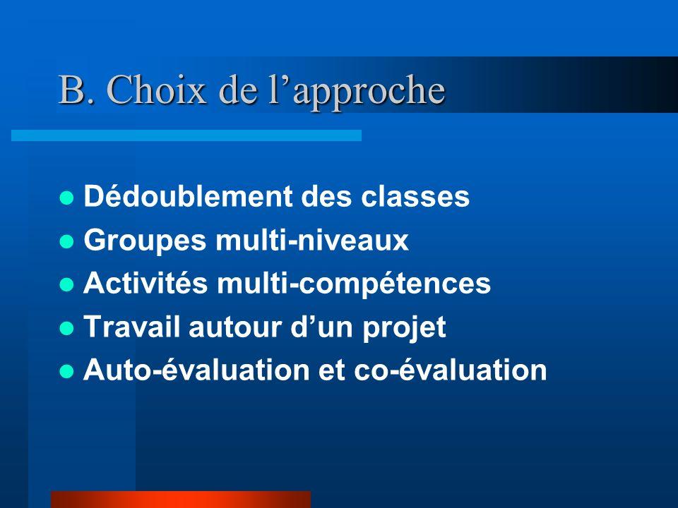 B. Choix de l'approche Dédoublement des classes Groupes multi-niveaux