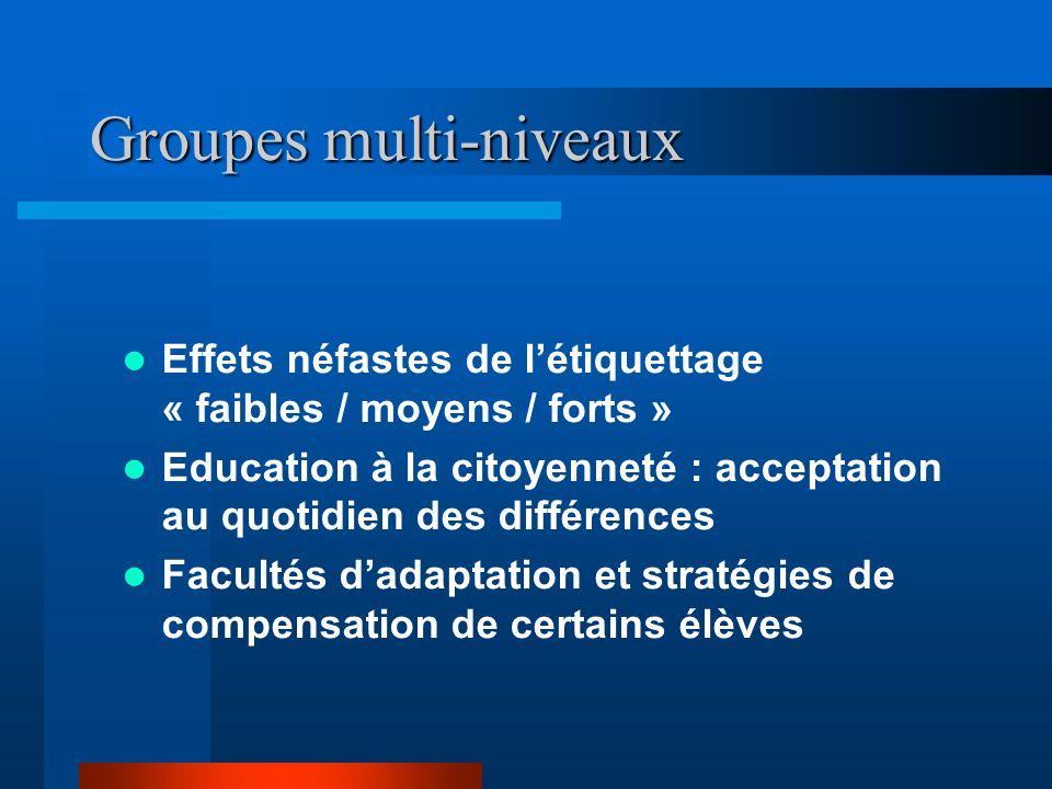 Groupes multi-niveaux