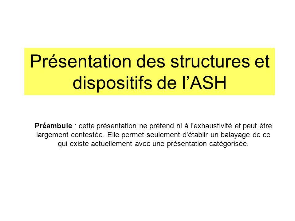 Présentation des structures et dispositifs de l'ASH