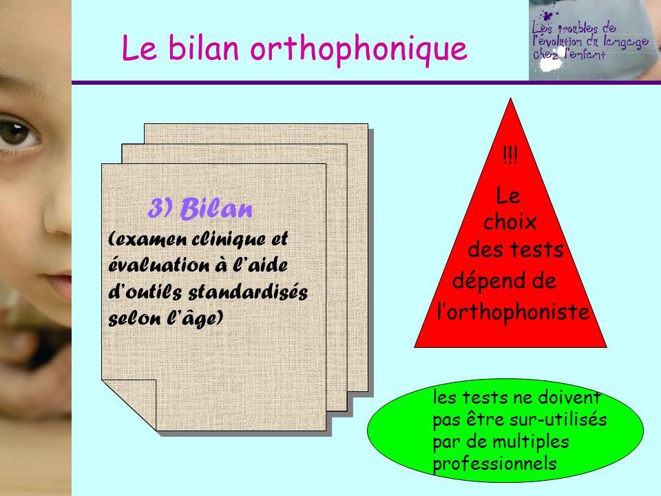 Le bilan orthophonique