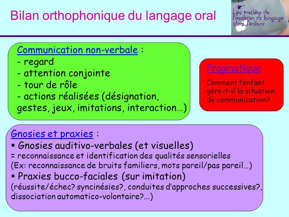 Bilan orthophonique du langage oral