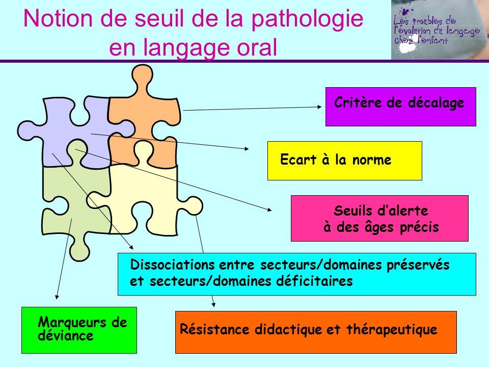 Notion de seuil de la pathologie en langage oral