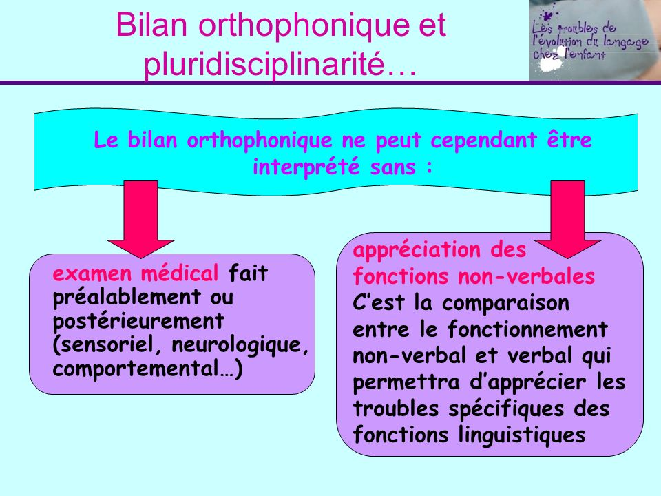 Bilan orthophonique et pluridisciplinarité…