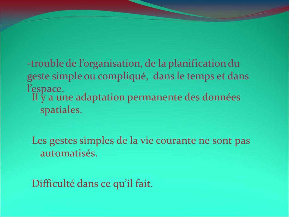 -trouble de l'organisation, de la planification du geste simple ou compliqué, dans le temps et dans l'espace.