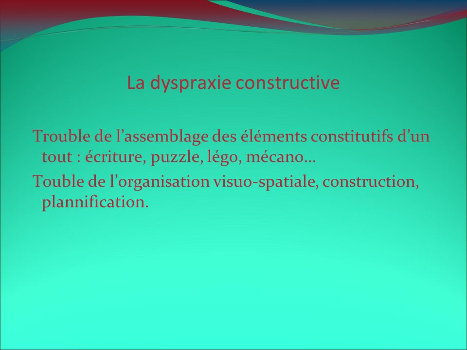 La dyspraxie constructive