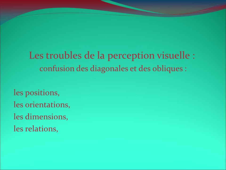 Les troubles de la perception visuelle :