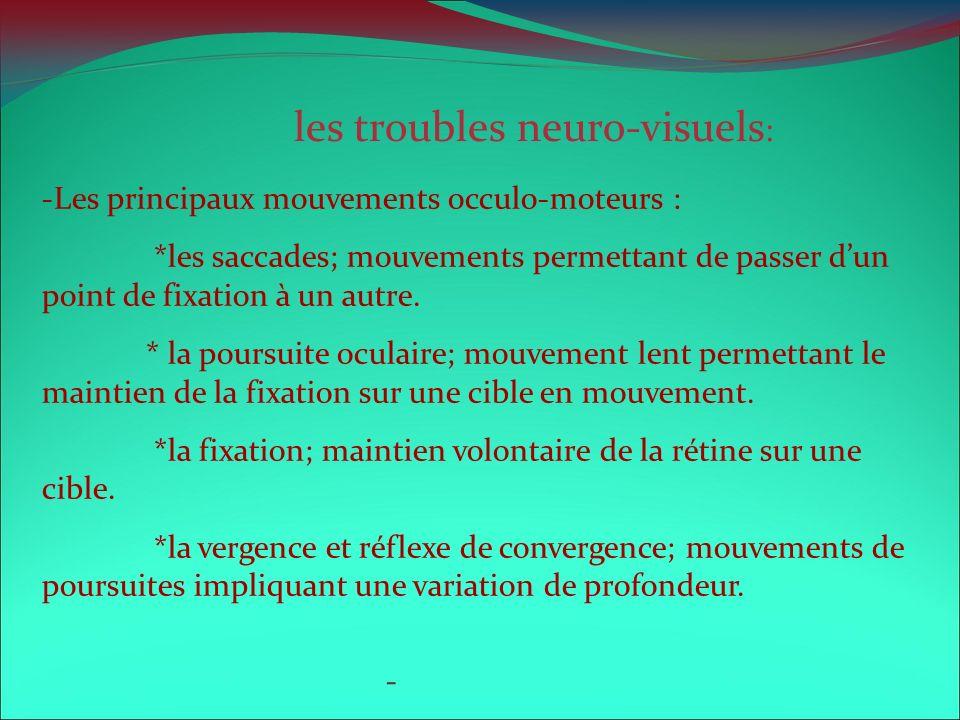 les troubles neuro-visuels: