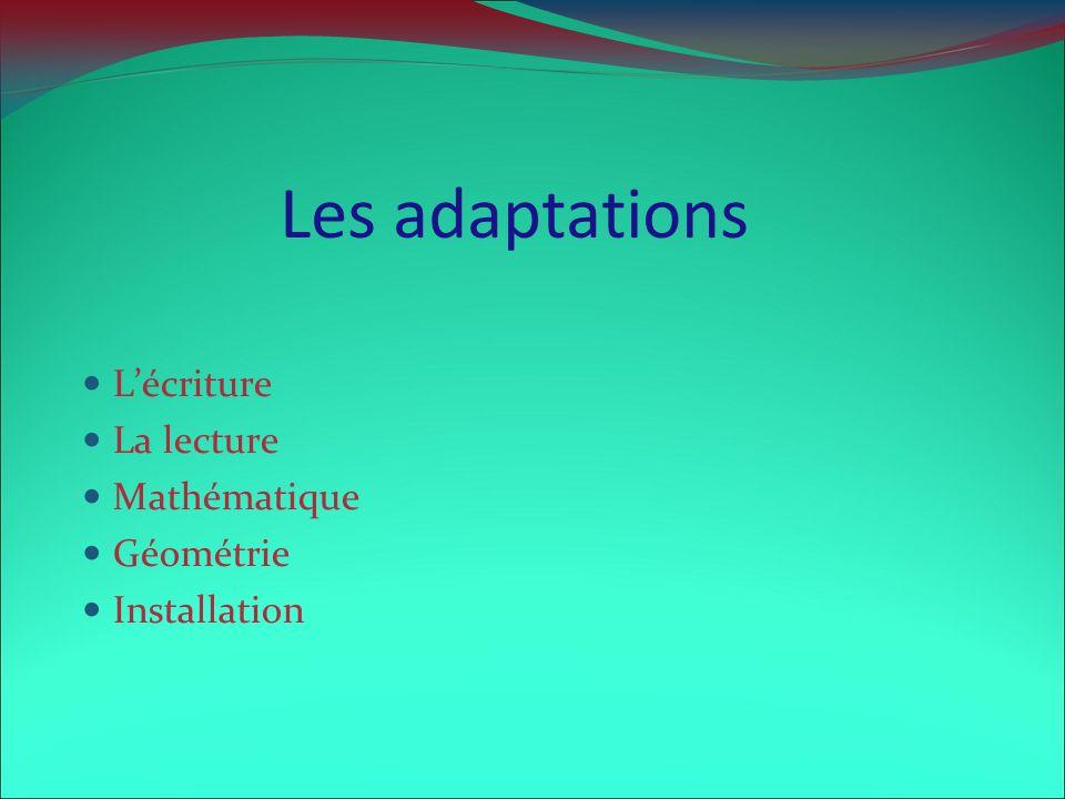 Les adaptations L'écriture La lecture Mathématique Géométrie
