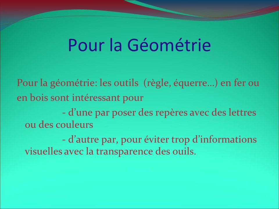 Pour la Géométrie Pour la géométrie: les outils (règle, équerre…) en fer ou. en bois sont intéressant pour.