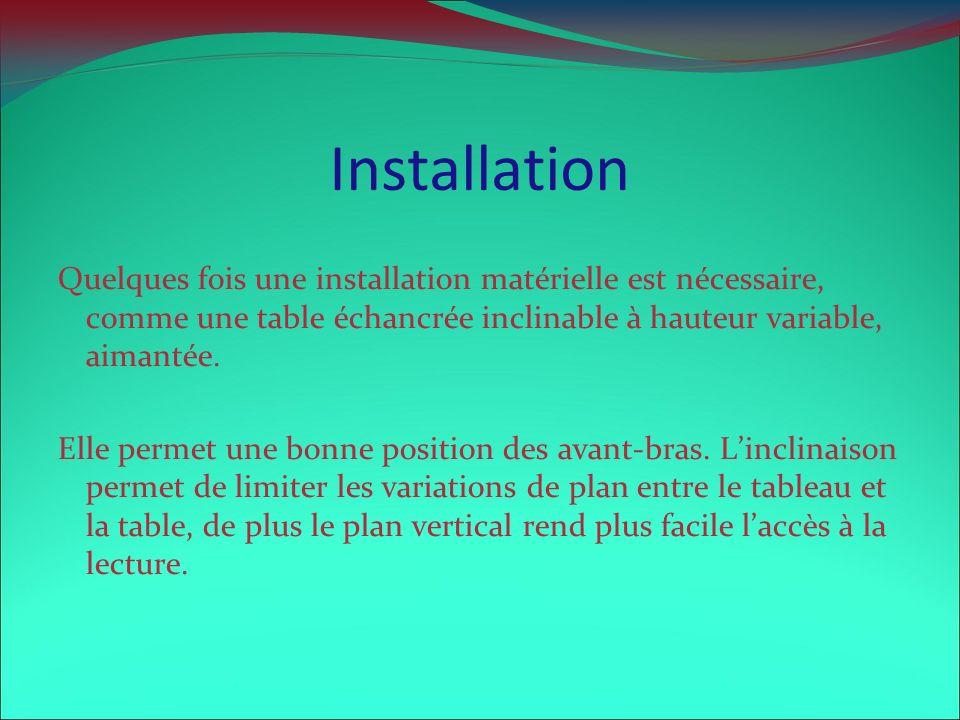 Installation Quelques fois une installation matérielle est nécessaire, comme une table échancrée inclinable à hauteur variable, aimantée.