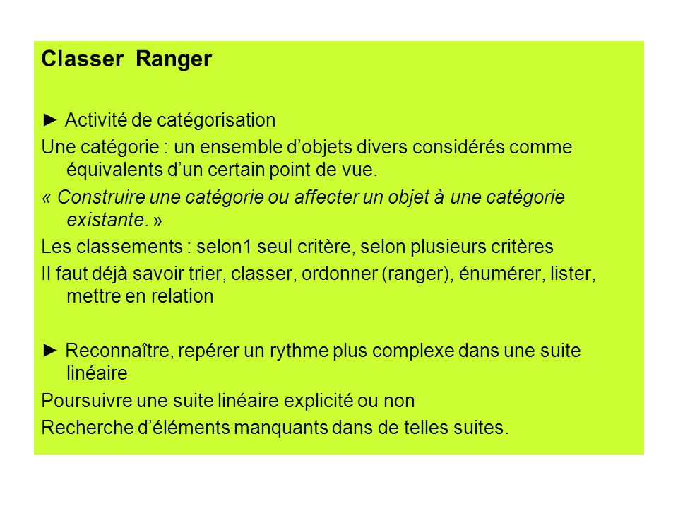 Classer Ranger ► Activité de catégorisation