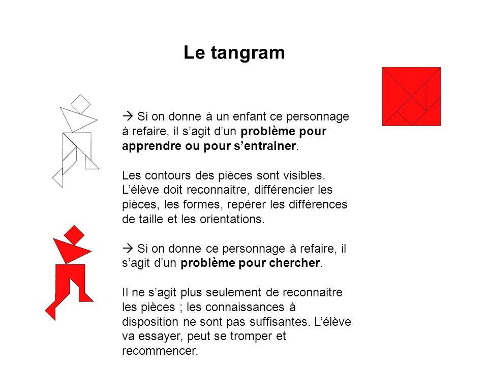 Le tangram  Si on donne à un enfant ce personnage à refaire, il s'agit d'un problème pour apprendre ou pour s'entrainer.
