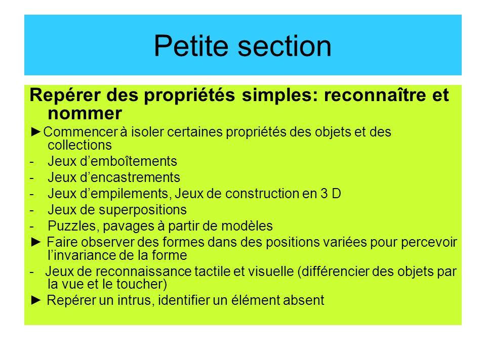 Petite section Repérer des propriétés simples: reconnaître et nommer