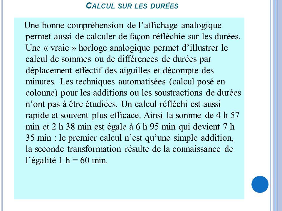 Calcul sur les durées