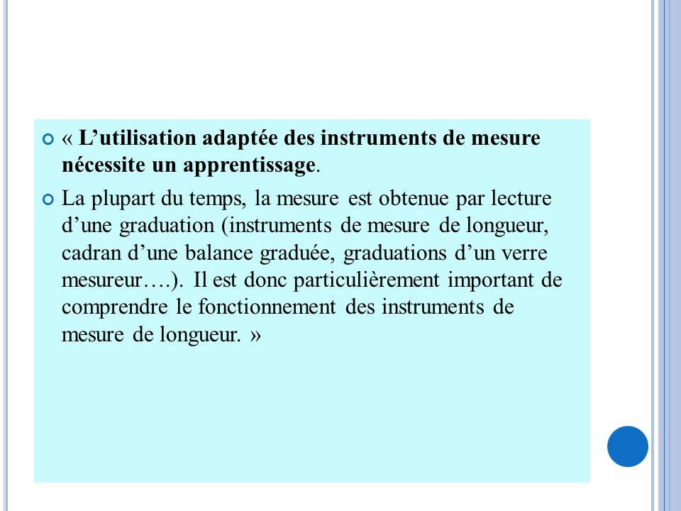 « L'utilisation adaptée des instruments de mesure nécessite un apprentissage.