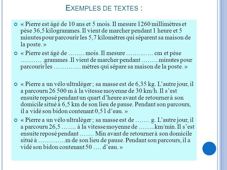 Exemples de textes :