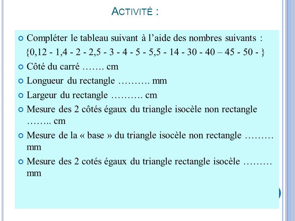 Activité : Compléter le tableau suivant à l'aide des nombres suivants : {0,12 - 1,4 - 2 - 2,5 - 3 - 4 - 5 - 5,5 - 14 - 30 - 40 – 45 - 50 - }
