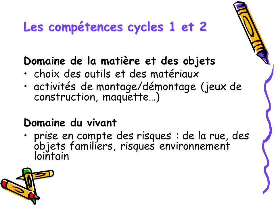 Les compétences cycles 1 et 2