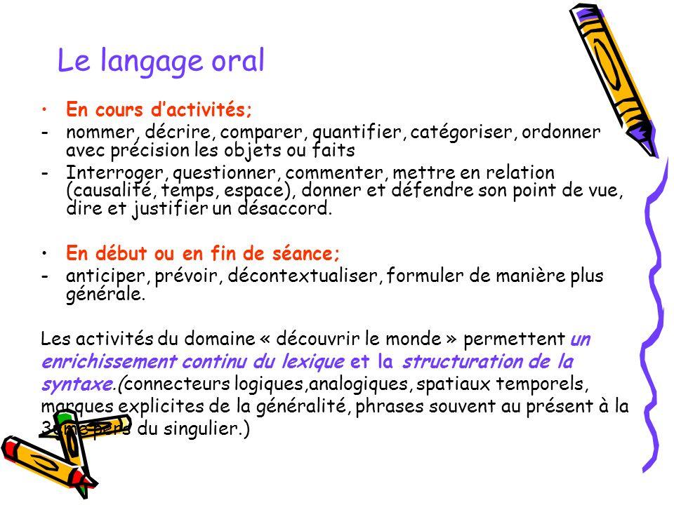 Le langage oral En cours d'activités;