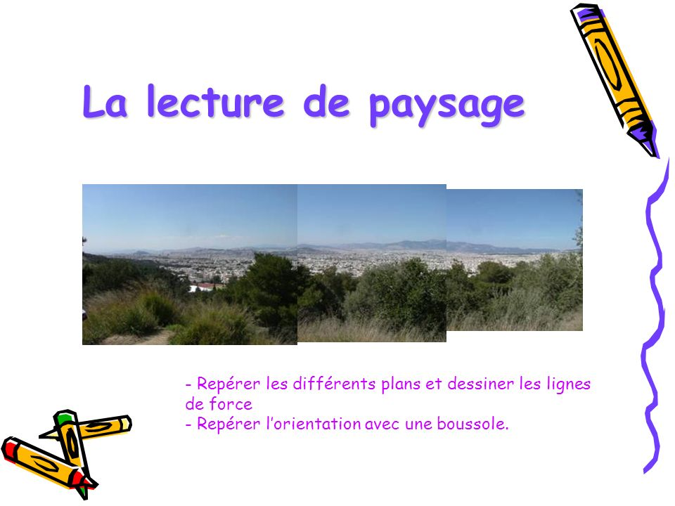 La lecture de paysage - Repérer les différents plans et dessiner les lignes de force - Repérer l'orientation avec une boussole.