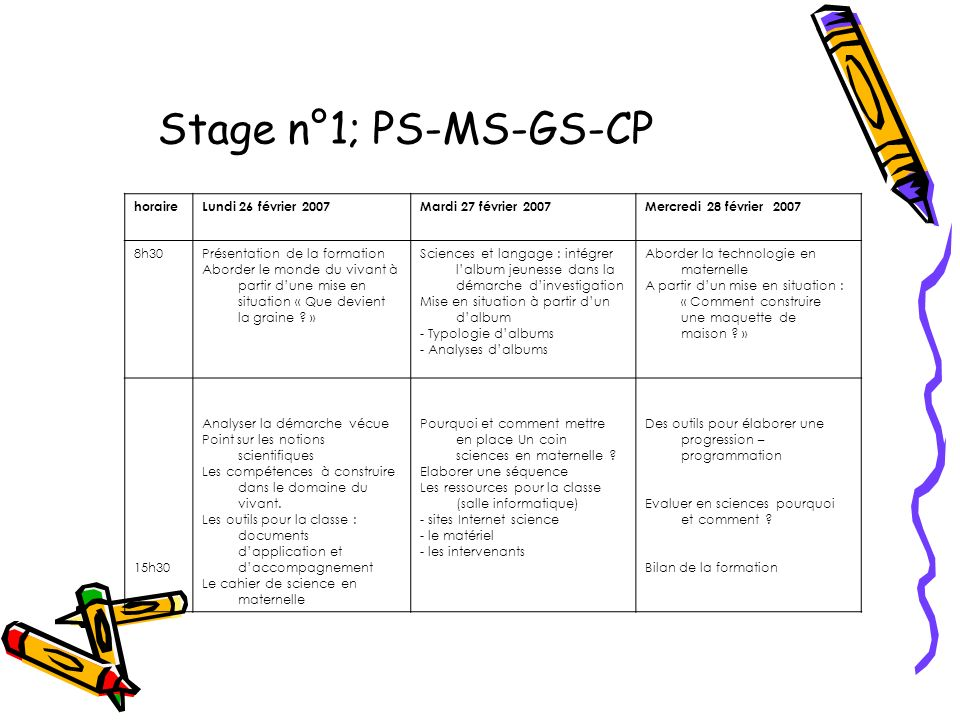 Stage n°1; PS-MS-GS-CP horaire Lundi 26 février 2007
