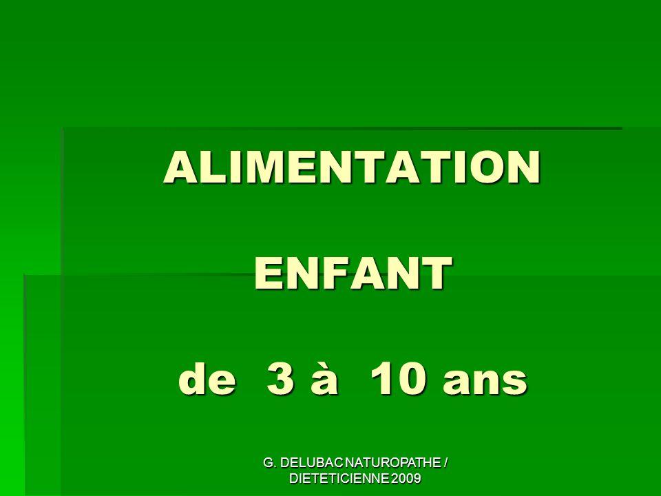 ALIMENTATION ENFANT de 3 à 10 ans