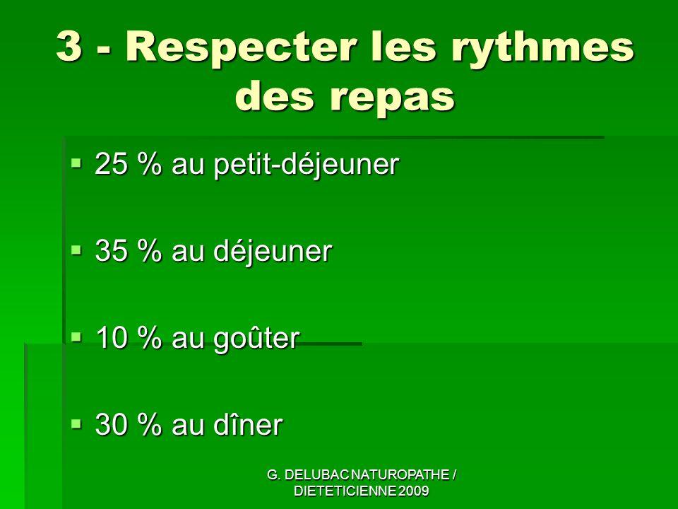 3 - Respecter les rythmes des repas