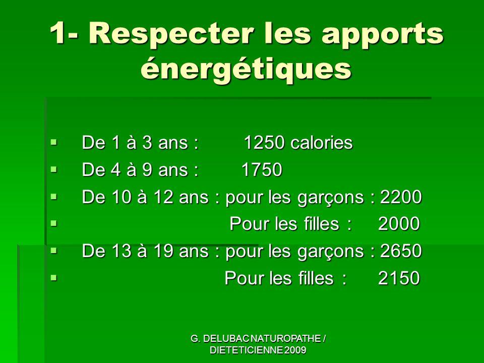 1- Respecter les apports énergétiques