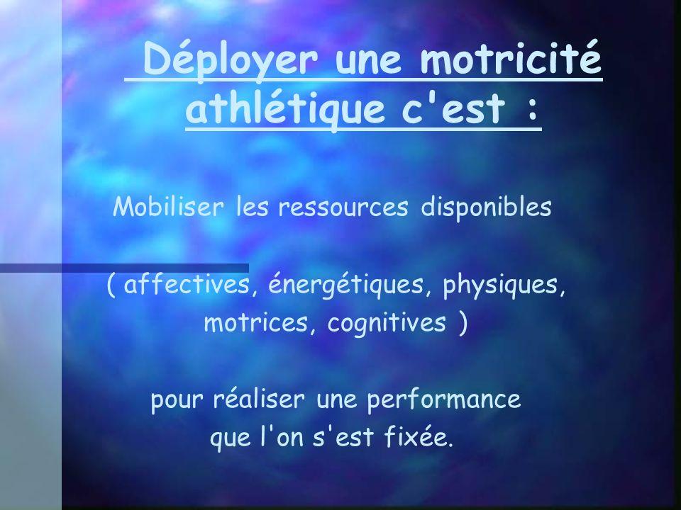 Déployer une motricité athlétique c est :