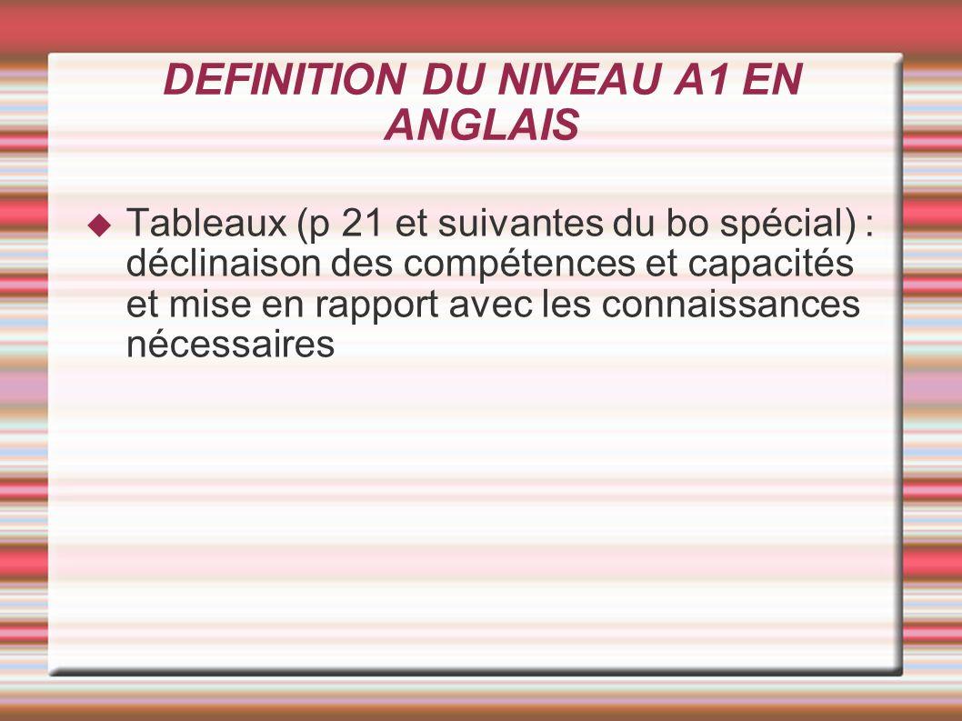 DEFINITION DU NIVEAU A1 EN ANGLAIS