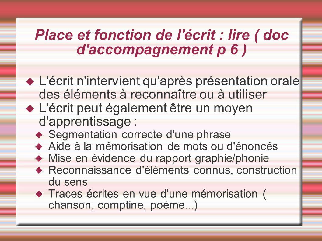 Place et fonction de l écrit : lire ( doc d accompagnement p 6 )