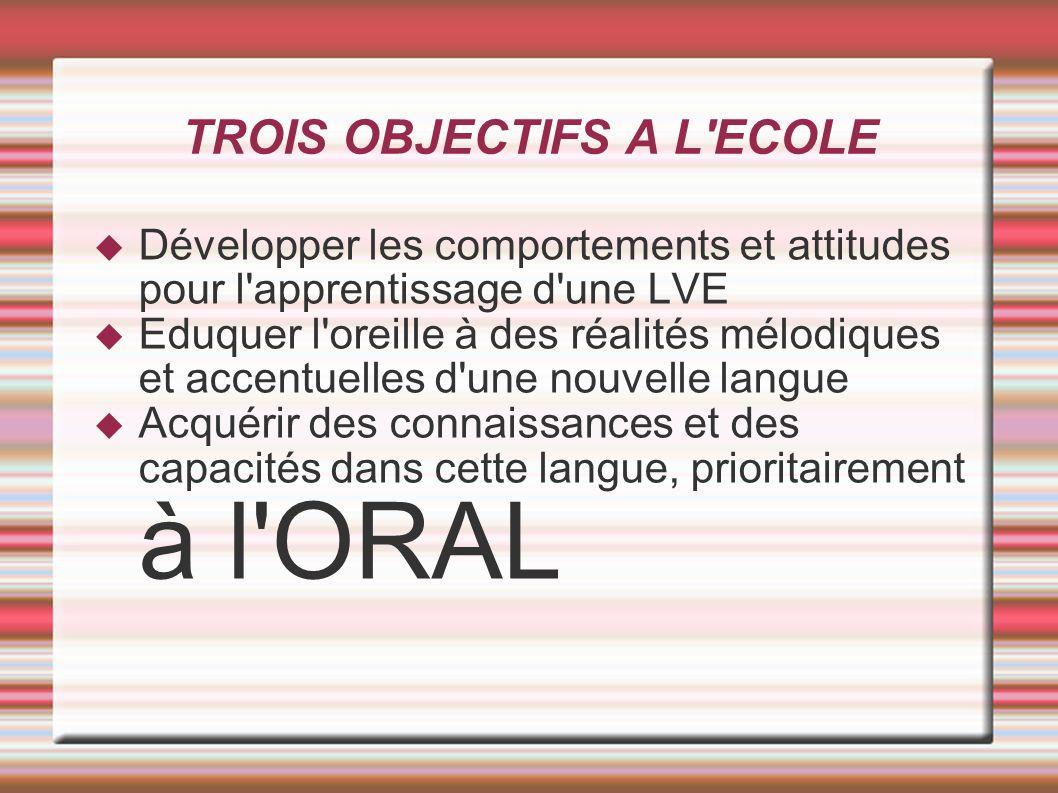 TROIS OBJECTIFS A L ECOLE