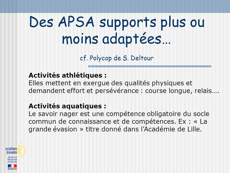 Des APSA supports plus ou moins adaptées… cf. Polycop de S. Deltour