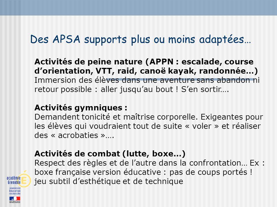 Des APSA supports plus ou moins adaptées…