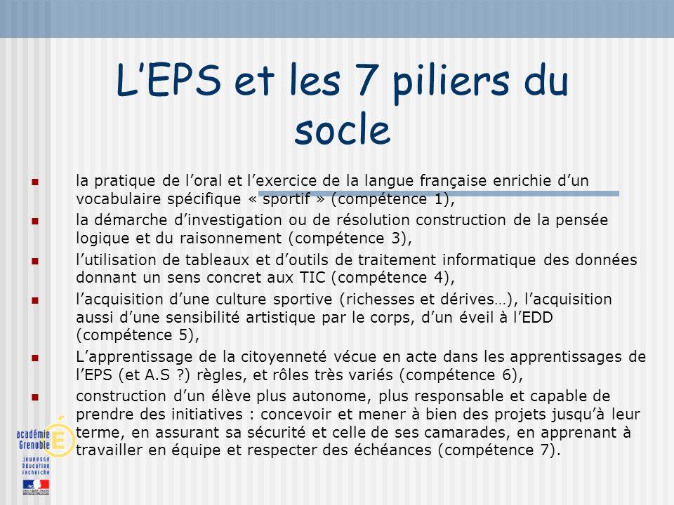 L'EPS et les 7 piliers du socle