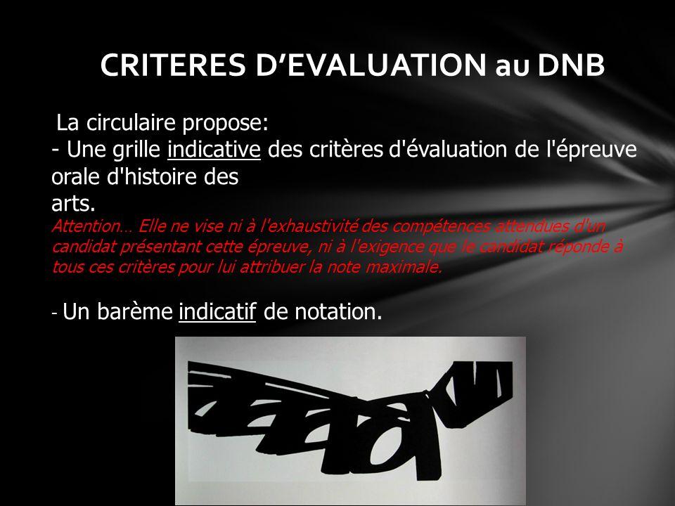 CRITERES D'EVALUATION au DNB