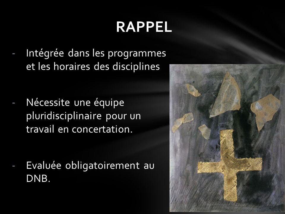 RAPPEL Intégrée dans les programmes et les horaires des disciplines